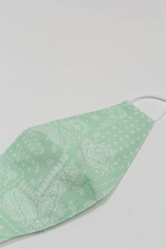 Pale green bandana print linen blend face mask_PSDBA1
