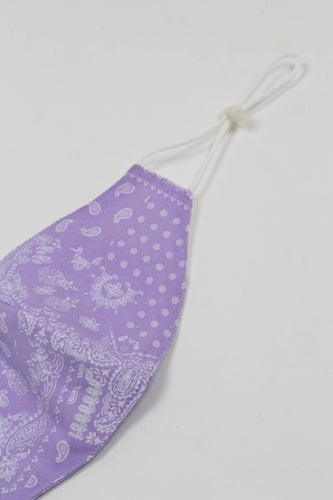 Pale purple bandana print linen blend face mask_PDEBA1