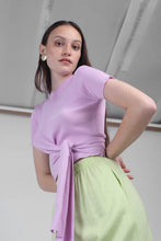 Load image into Gallery viewer, 23188_Pale purple tie front diagonal ribbed knit top_MCFBA1