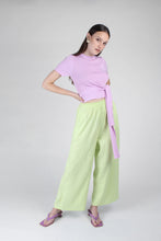Load image into Gallery viewer, 23188_Pale purple tie front diagonal ribbed knit top_MFFBA2