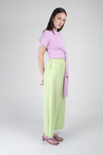 Load image into Gallery viewer, 23188_Pale purple tie front diagonal ribbed knit top_MFSBA1