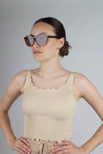 Load image into Gallery viewer, Beige ruffle trim tank top_MCFBA1