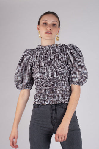 23199_Black gingham ruched bodice puff sleeve top_MCFBA2