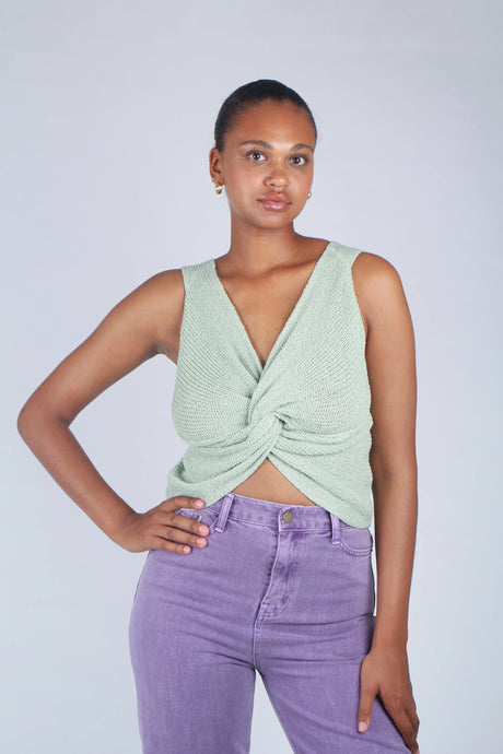 Mint twist front knit tank_1