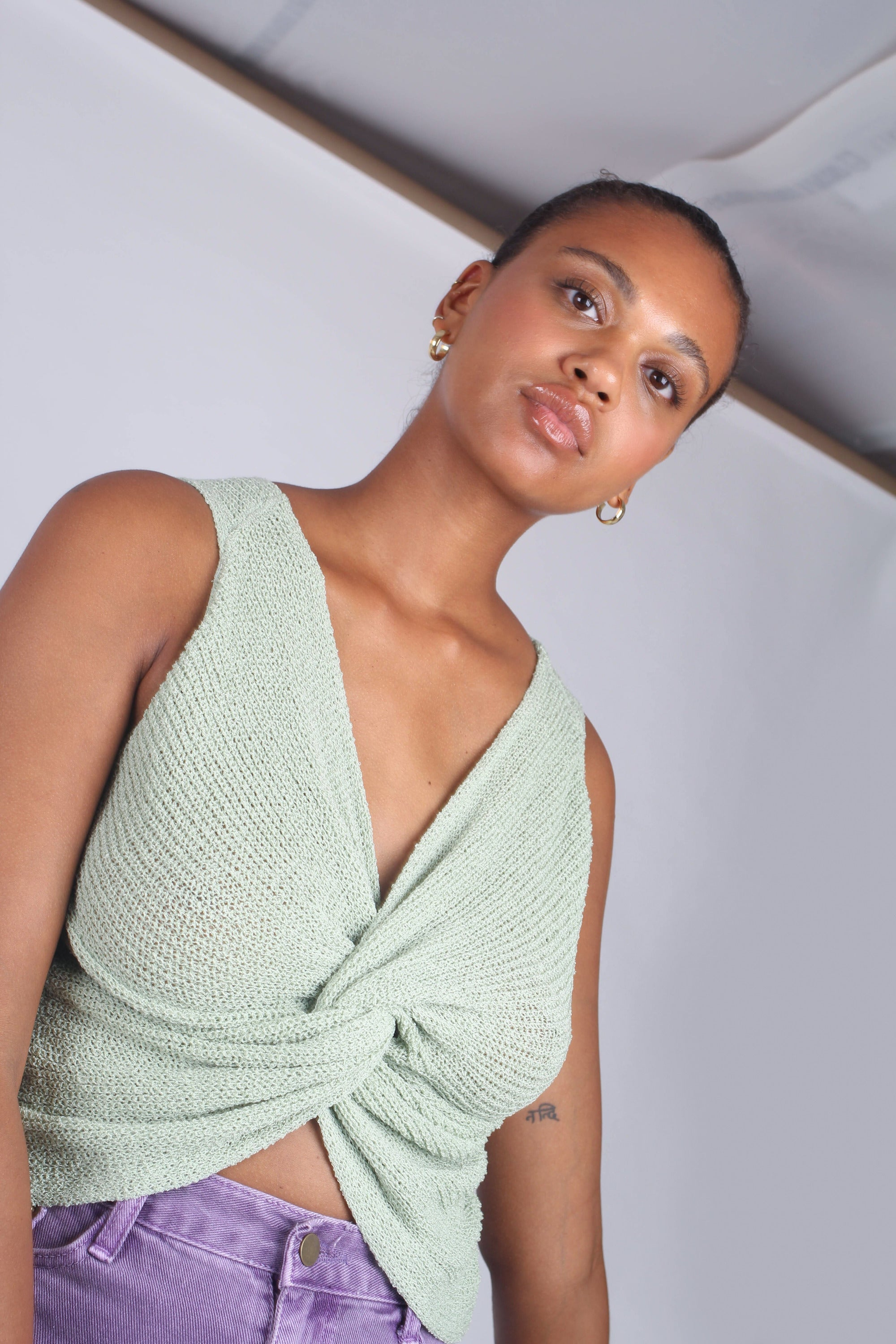 Mint twist front knit tank_2