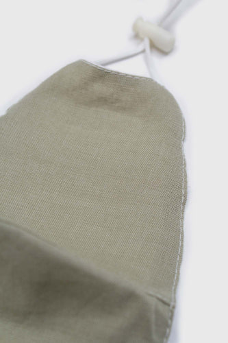 Khaki pure linen face mask1sx