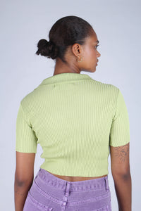 Bright green zip front short sleeved knit top_3
