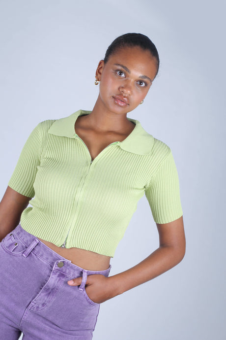 Bright green zip front short sleeved knit top_1