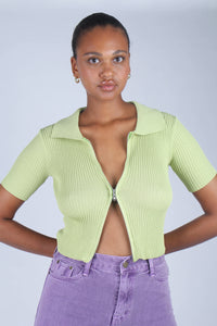 Bright green zip front short sleeved knit top_2