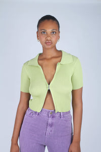 Bright green zip front short sleeved knit top_7