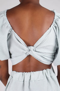 Khaki gingham off shoulder wrap top - set_11