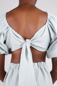 Khaki gingham off shoulder wrap top - set_4