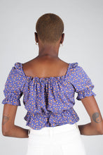 Load image into Gallery viewer, Blue floral print off shoulder short sleeved top_3