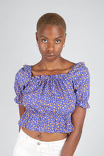 Load image into Gallery viewer, Blue floral print off shoulder short sleeved top_1