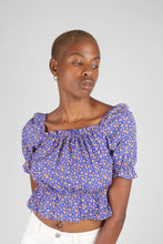 Load image into Gallery viewer, Blue floral print off shoulder short sleeved top_4