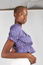 Load image into Gallery viewer, Blue floral print off shoulder short sleeved top_2