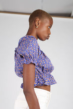 Load image into Gallery viewer, Blue floral print off shoulder short sleeved top_5