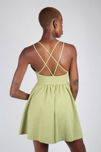 Olive green strappy back fit and flare mini dress_2