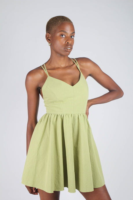Olive green strappy back fit and flare mini dress_1