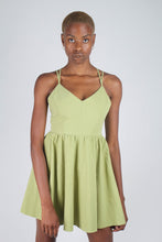 Load image into Gallery viewer, Olive green strappy back fit and flare mini dress_5