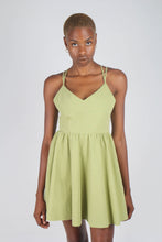 Load image into Gallery viewer, Olive green strappy back fit and flare mini dress_7