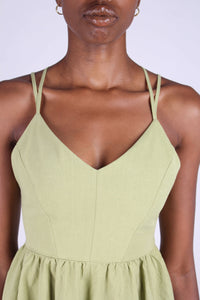 Olive green strappy back fit and flare mini dress_8
