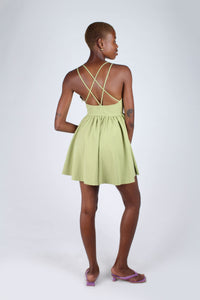 Olive green strappy back fit and flare mini dress_4