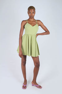 Olive green strappy back fit and flare mini dress_3