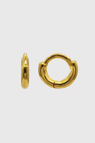 Gold simple hoop single huggie earring - 4mm1sx