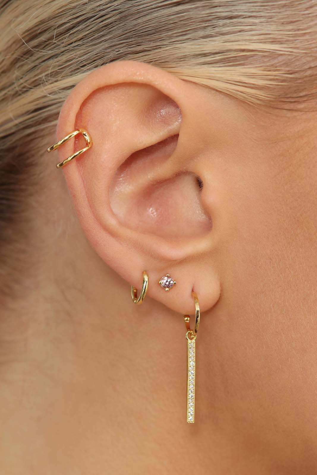 Gold simple double tier ear cuff - 8mm1