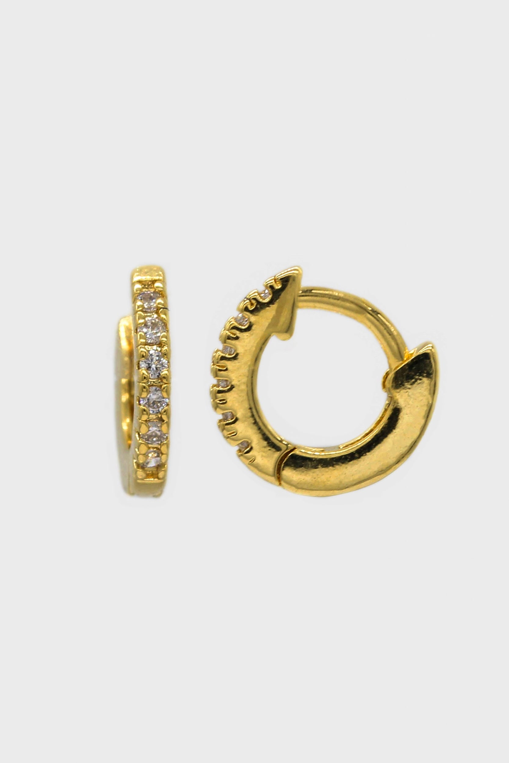Gold simple pave huggie earrings - 5.5mm1