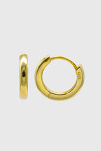 Load image into Gallery viewer, Gold simple hoop huggie earrings - 9mm1sx