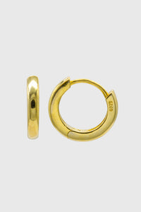 Gold simple hoop huggie earrings - 9mm1sx