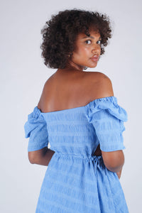 Blue and white textured off shoulder mini dress_5