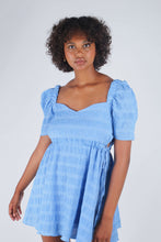 Load image into Gallery viewer, Blue and white textured off shoulder mini dress_1