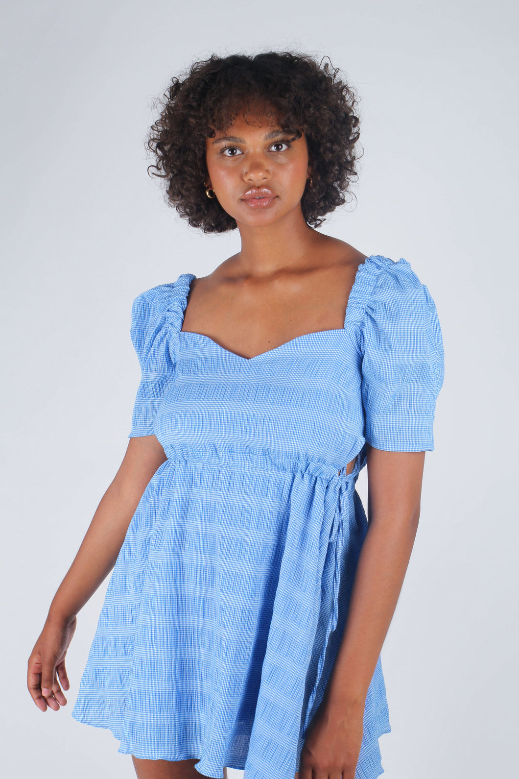 Blue and white textured off shoulder mini dress_1
