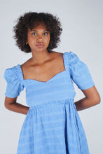 Load image into Gallery viewer, Blue and white textured off shoulder mini dress_4
