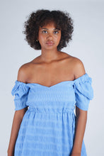 Load image into Gallery viewer, Blue and white textured off shoulder mini dress_6