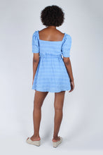 Load image into Gallery viewer, Blue and white textured off shoulder mini dress_9