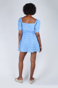 Blue and white textured off shoulder mini dress_9