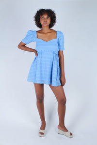 Blue and white textured off shoulder mini dress_3