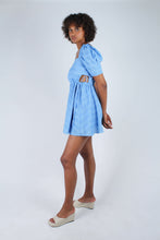 Load image into Gallery viewer, Blue and white textured off shoulder mini dress_8