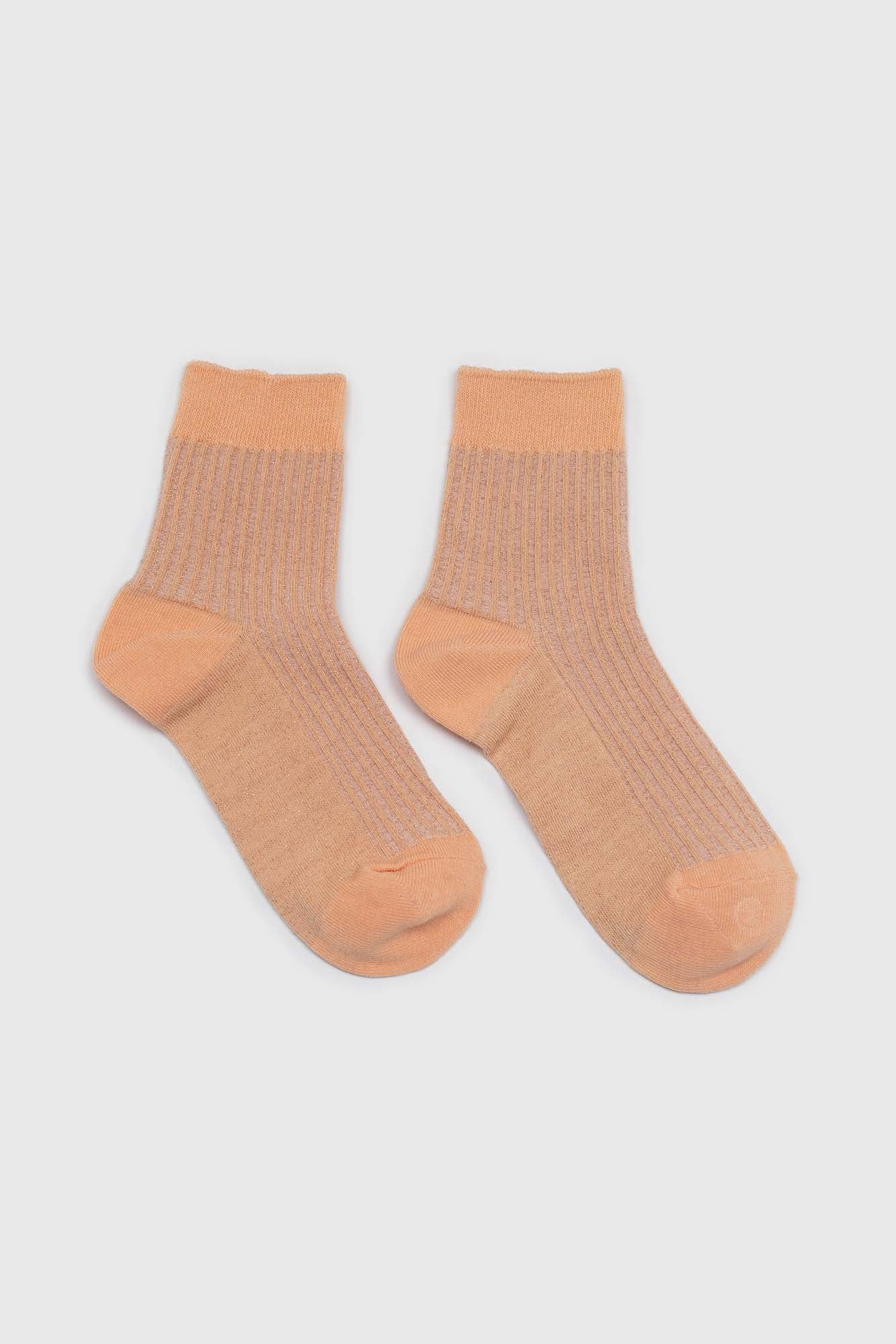 Sherbet orange metallic vertical stripe socks3