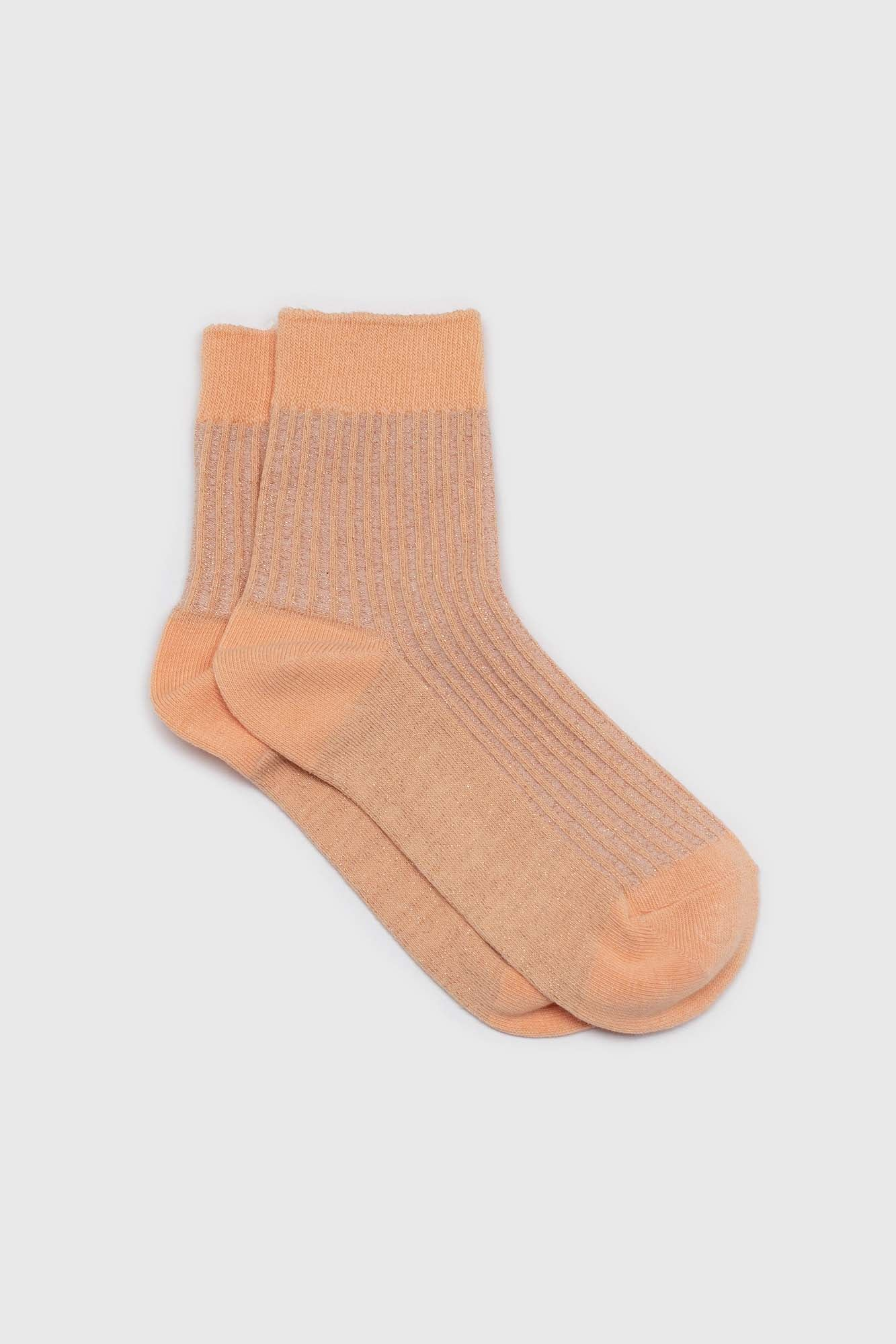 Sherbet orange metallic vertical stripe socks1sx