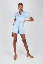 Load image into Gallery viewer, Light blue denim open back romper1