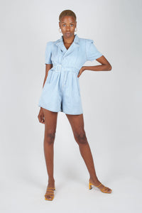 Light blue denim open back romper1