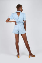 Load image into Gallery viewer, Light blue denim open back romper2