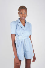 Load image into Gallery viewer, Light blue denim open back romper3