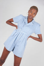 Load image into Gallery viewer, Light blue denim open back romper4