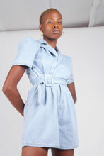 Load image into Gallery viewer, Light blue denim open back romper5